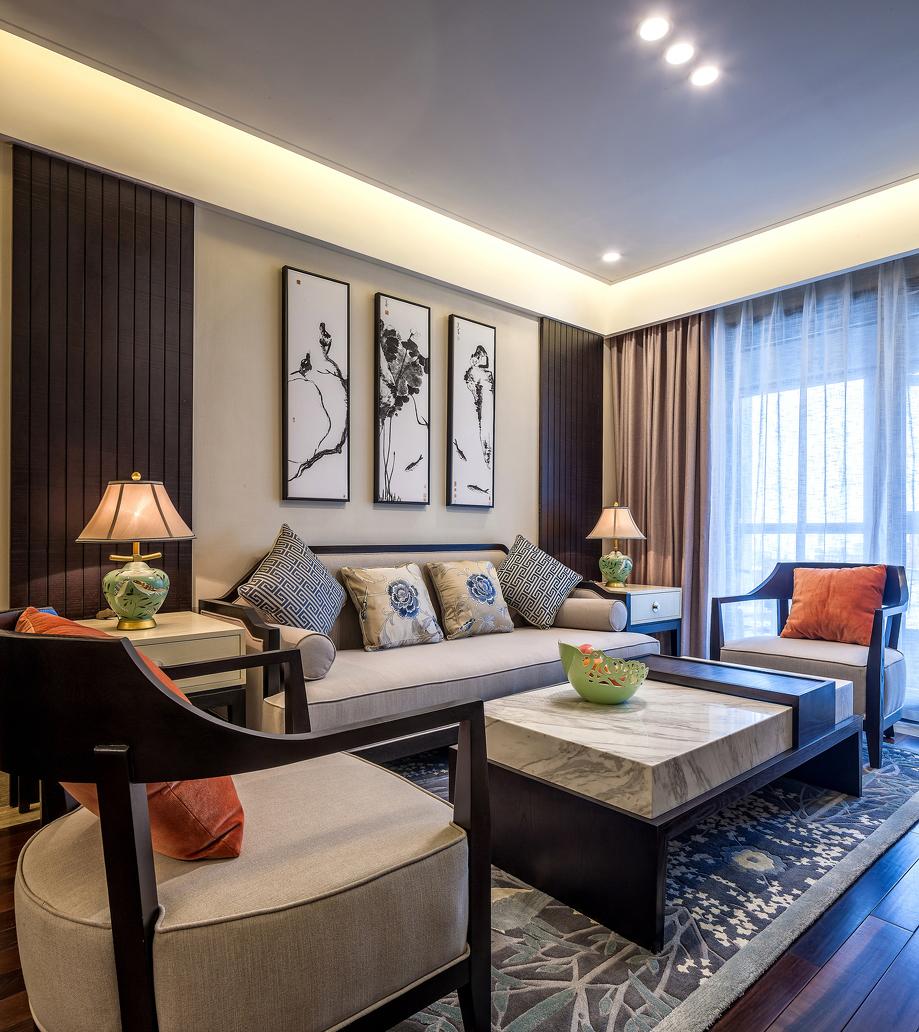 125㎡新中式风格客厅装修效果图