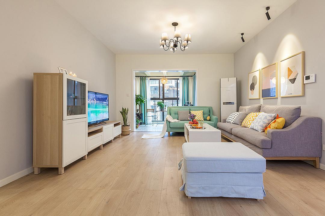 120㎡北欧四居室客厅装修效果图