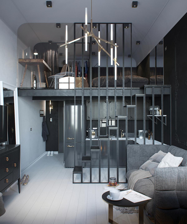 24平黑系公寓客厅装修效果图