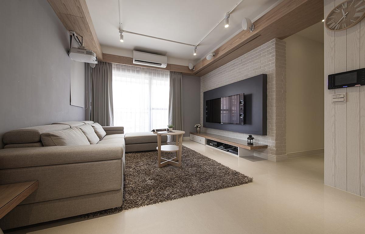 100平米混搭风格电视背景墙装修效果图