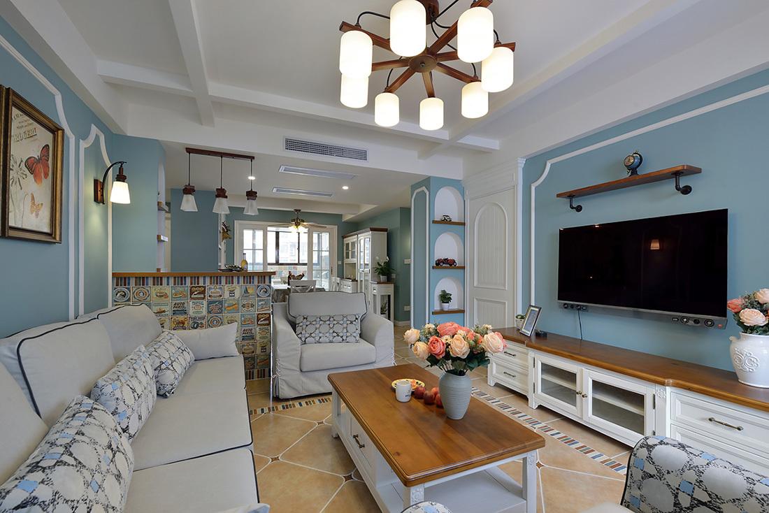 蓝色美式风格电视背景墙装修效果图