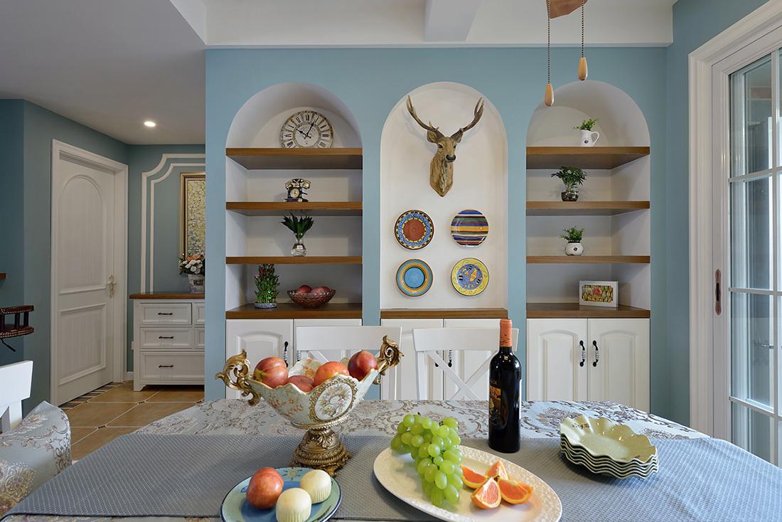 蓝色美式风格餐厅背景墙装修效果图