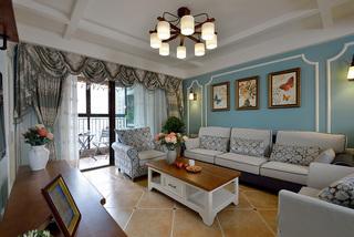 蓝色美式风格沙发背景墙装修效果图