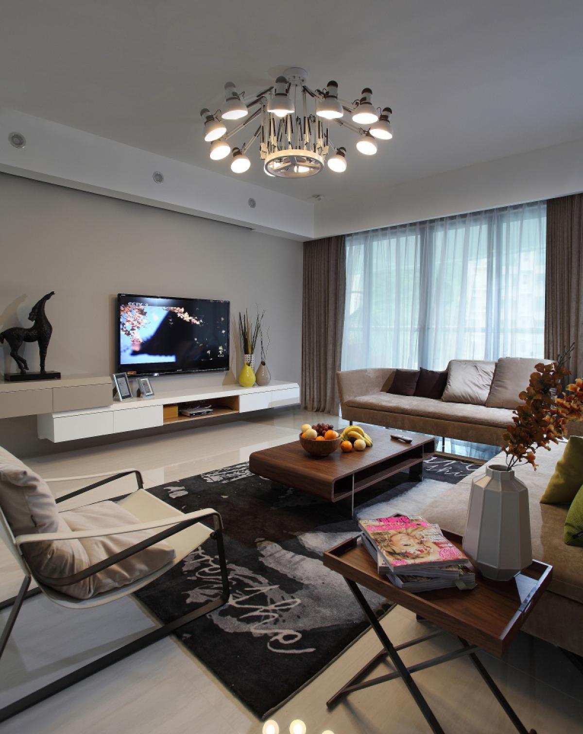 150㎡现代简约客厅装修效果图