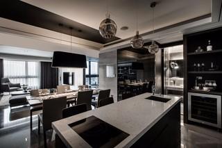 黑白灰现代公寓厨房装修效果图