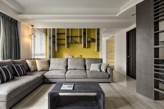 现代简约三居装修沙发布置图
