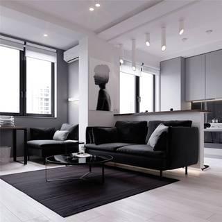 45㎡黑白调公寓装修效果图