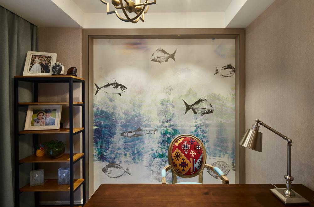 110㎡现代美式三居书房背景墙装修效果图