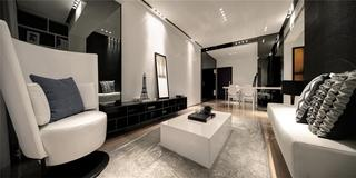 黑白灰现代简约三居客厅装修效果图