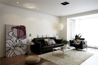 白色简约风三居沙发背景墙装修效果图