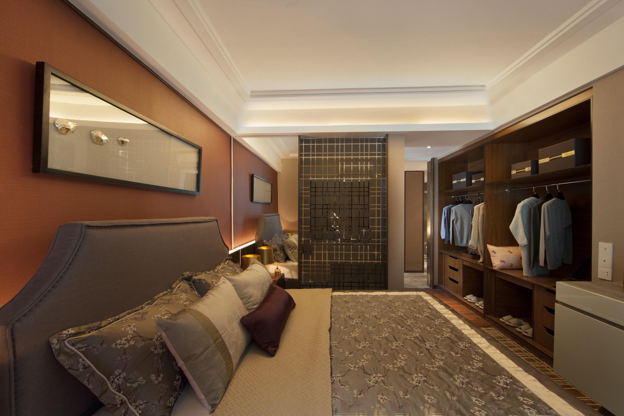 中式混搭风格三居卧室装修效果图