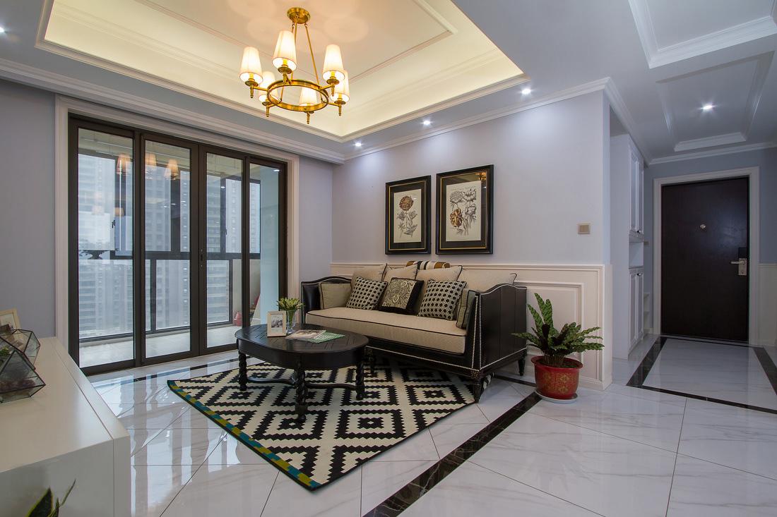 120平美式风格客厅装修效果图