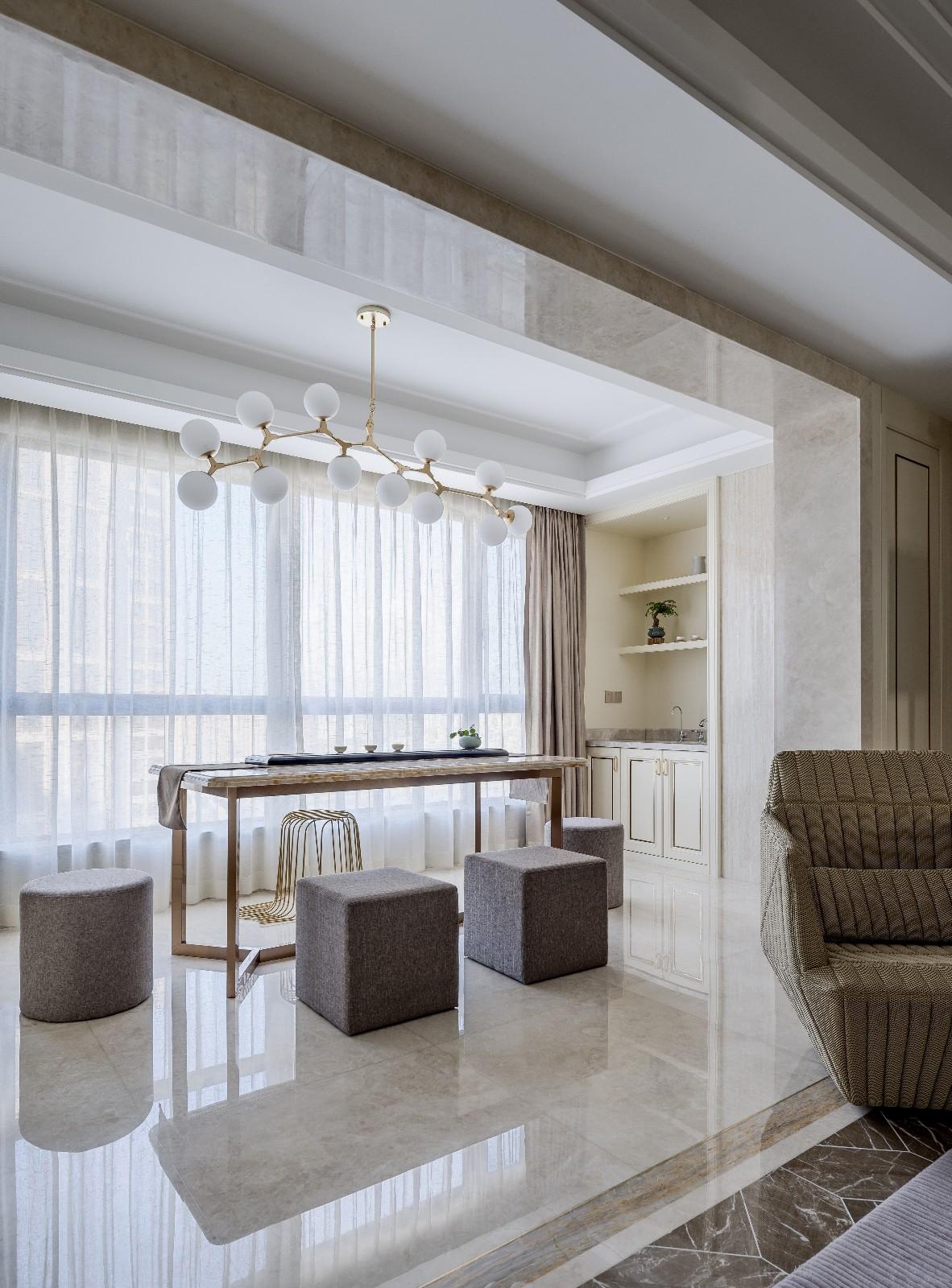 优雅轻奢大户型阳台茶室装修效果图