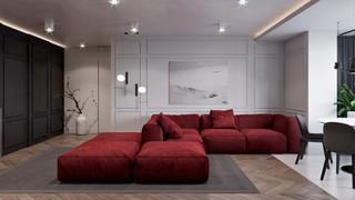 101平现代公寓装修红色沙发设计图