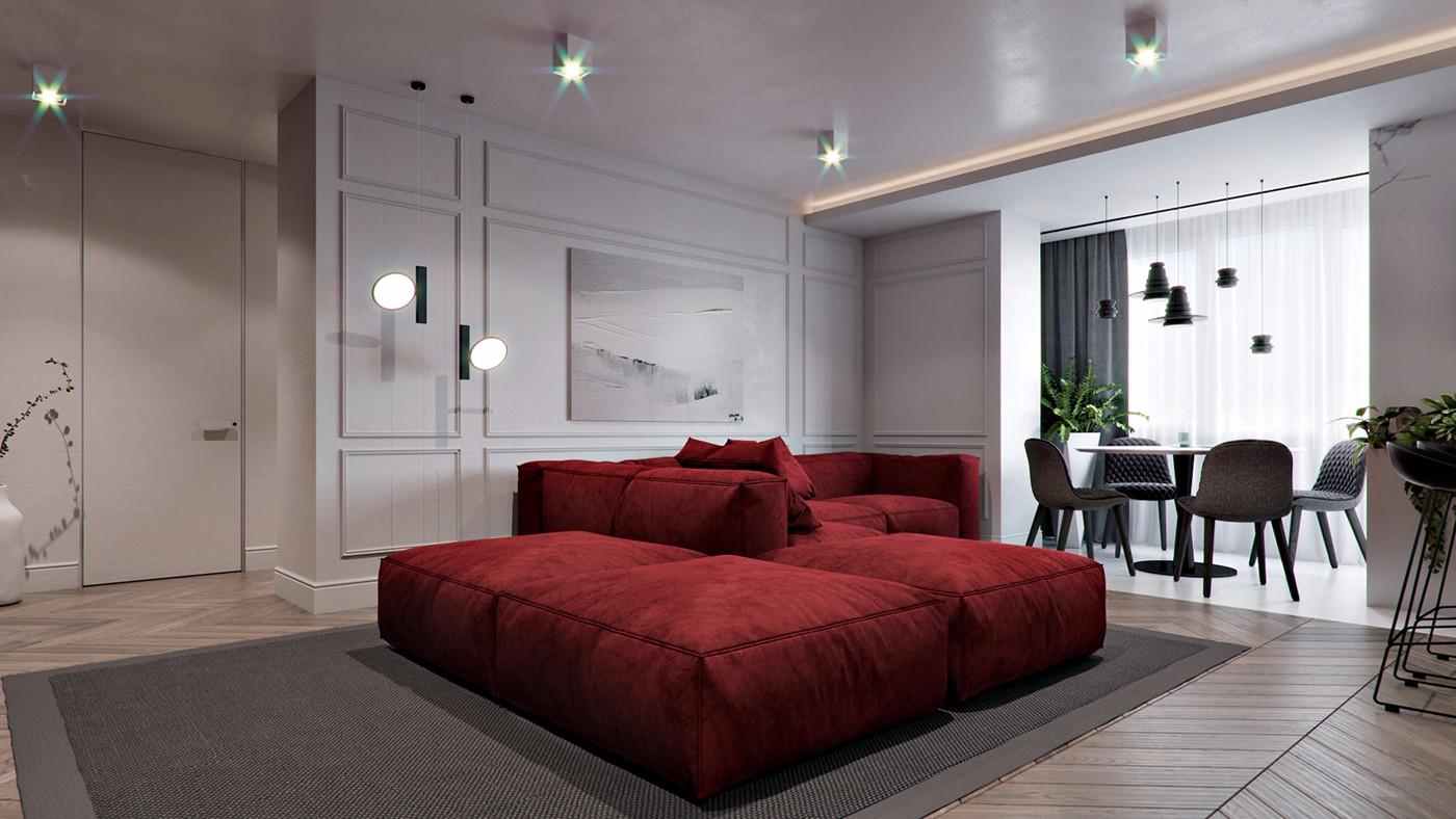 101平现代公寓沙发背景墙装修效果图