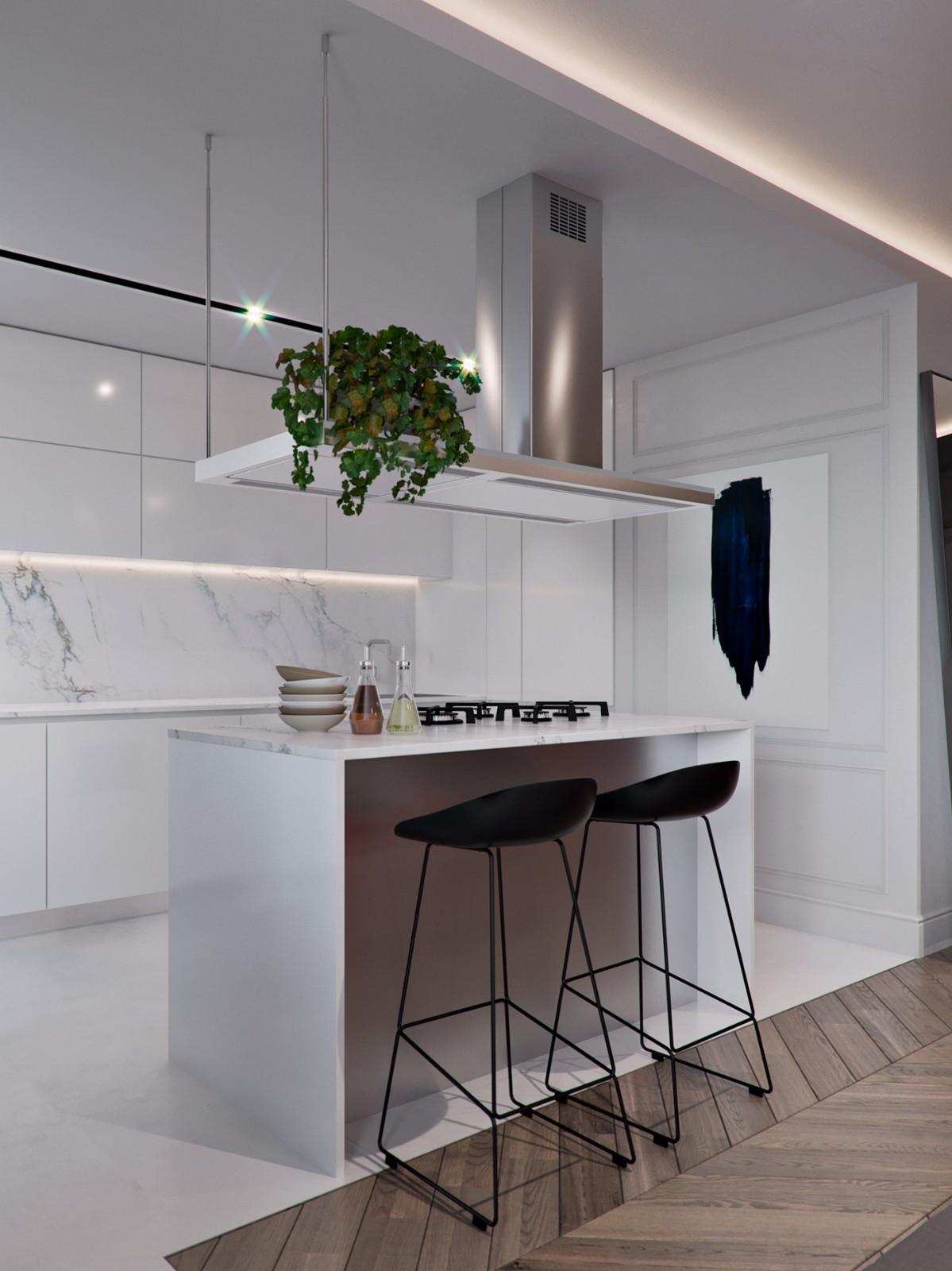 101平现代公寓厨房吧台装修效果图