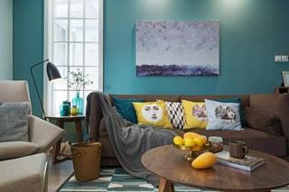 蓝色北欧风格三居沙发背景墙装修效果图