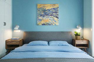 蓝色北欧风格三居床头背景墙装修效果图