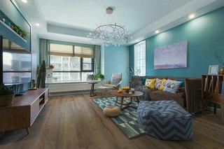 蓝色北欧风格三居客厅装修效果图