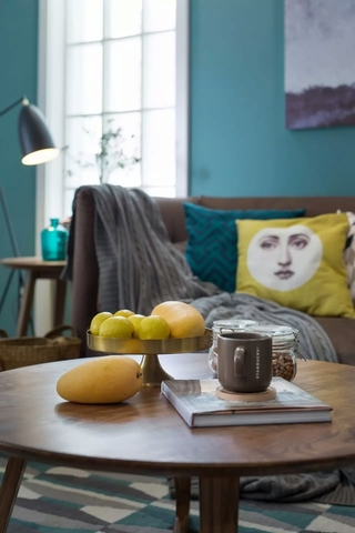 蓝色北欧风格三居装修茶几摆件特写