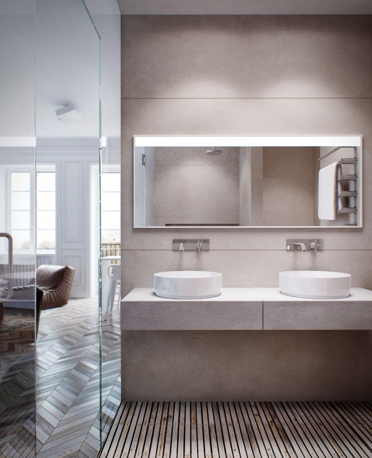 一居室简约风公寓洗手台装修效果图