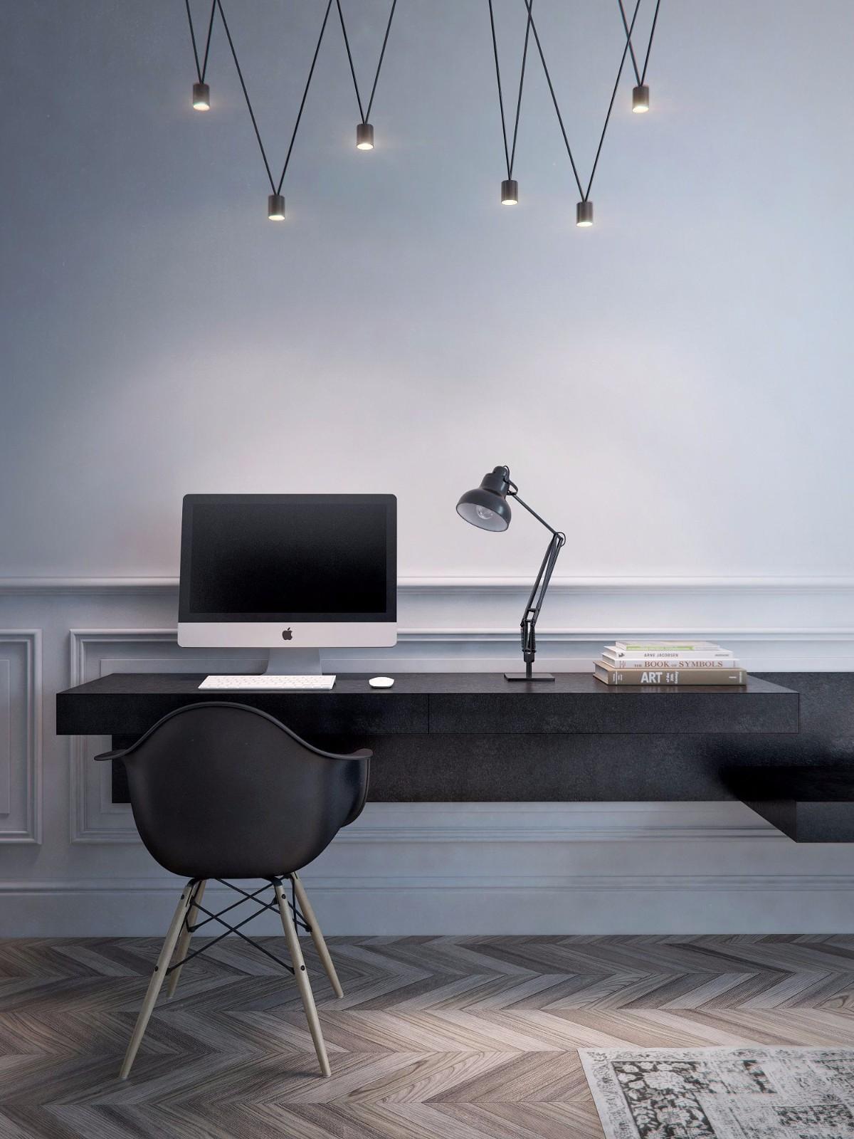 一居室简约风公寓书桌装修效果图