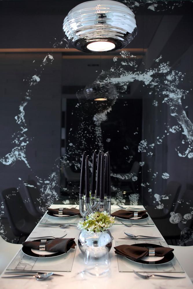 黑白现代简约公寓餐厅装修效果图