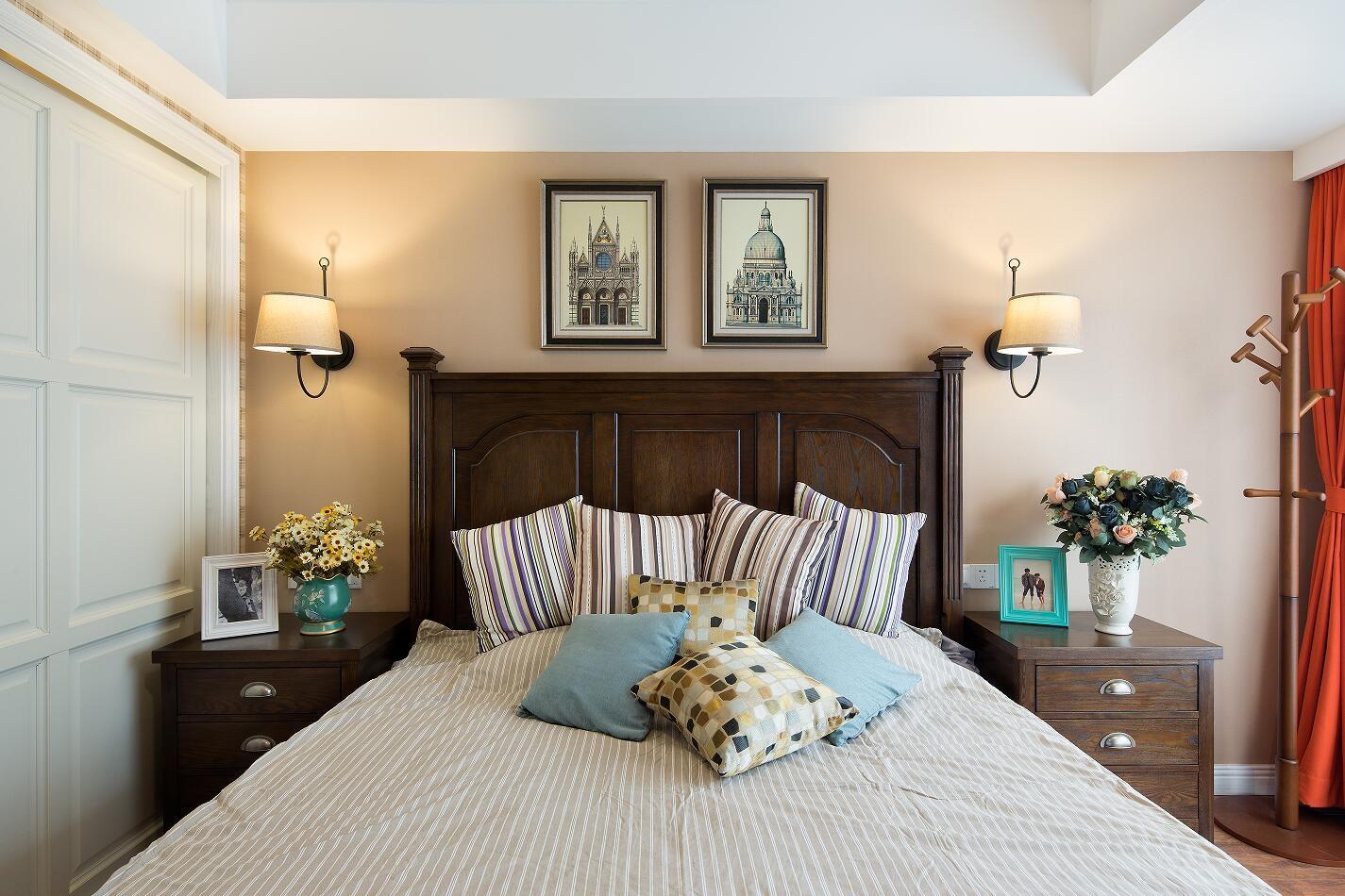 温馨美式风格三居卧室装修效果图