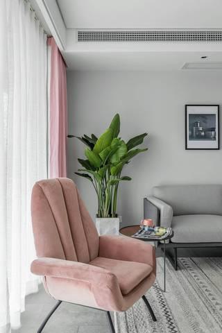 140平简约北欧风装修粉色沙发椅设计图