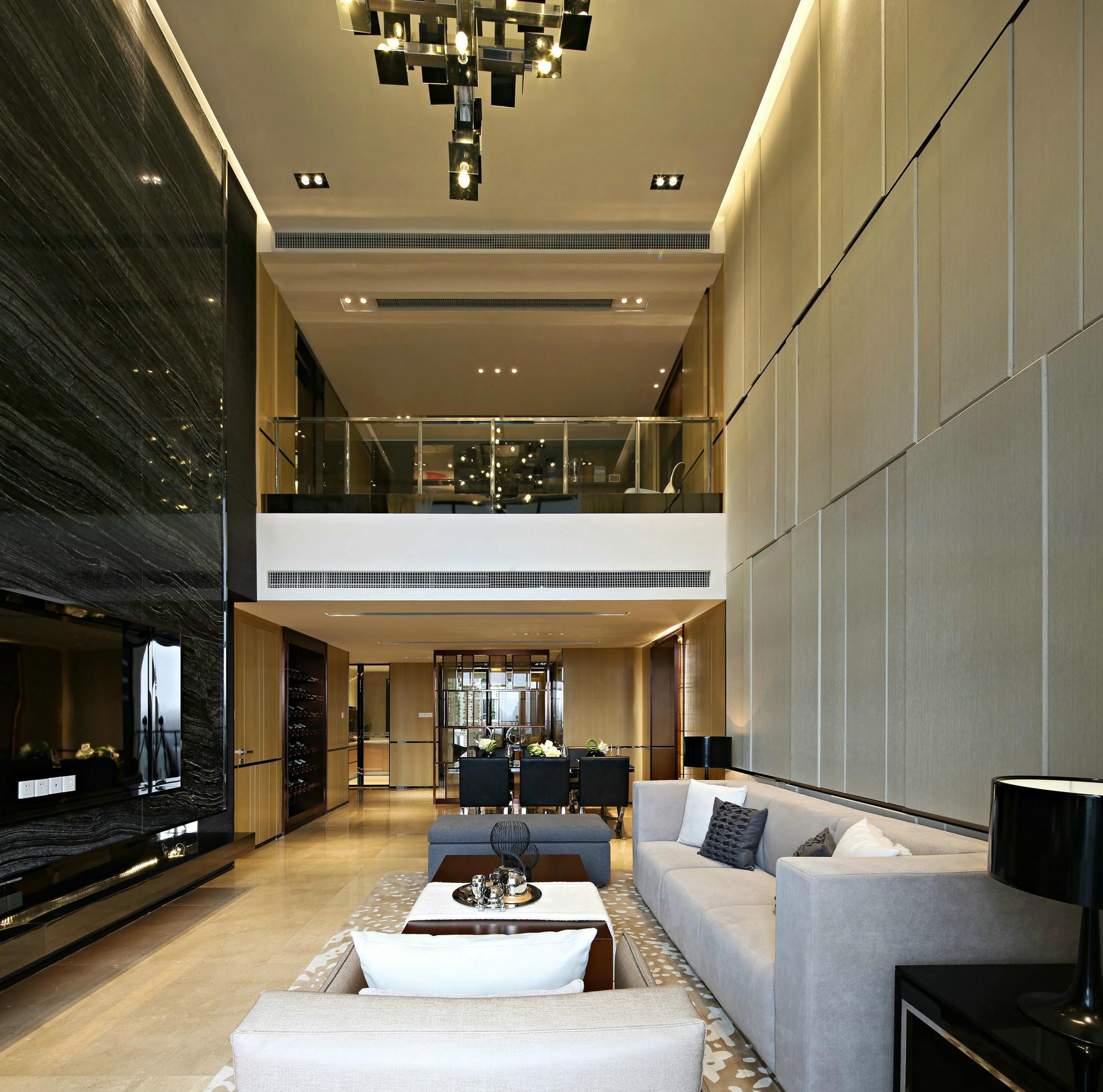 现代简约复式样板间客厅装修效果图