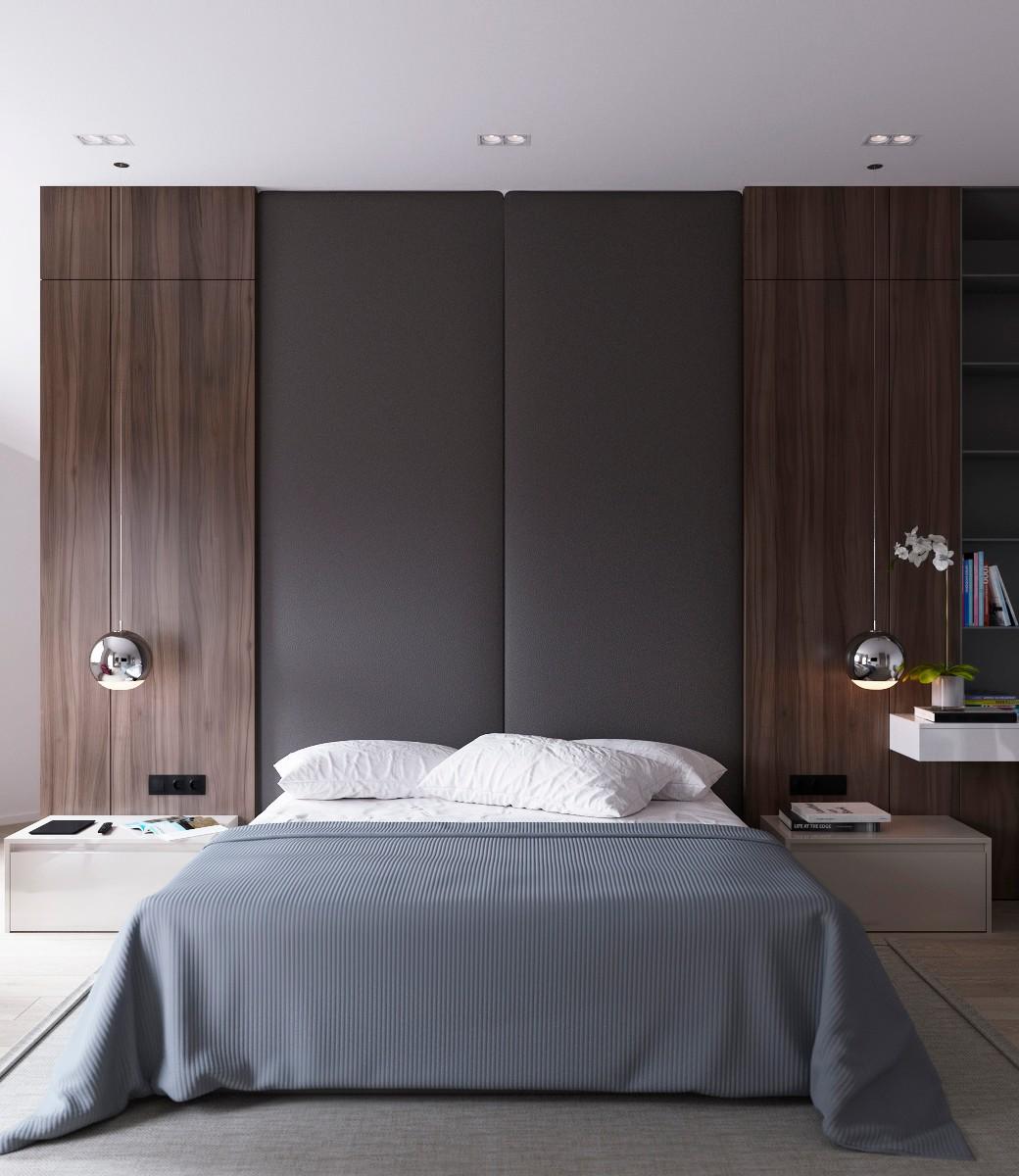 大户型简约风公寓床头背景墙装修效果图