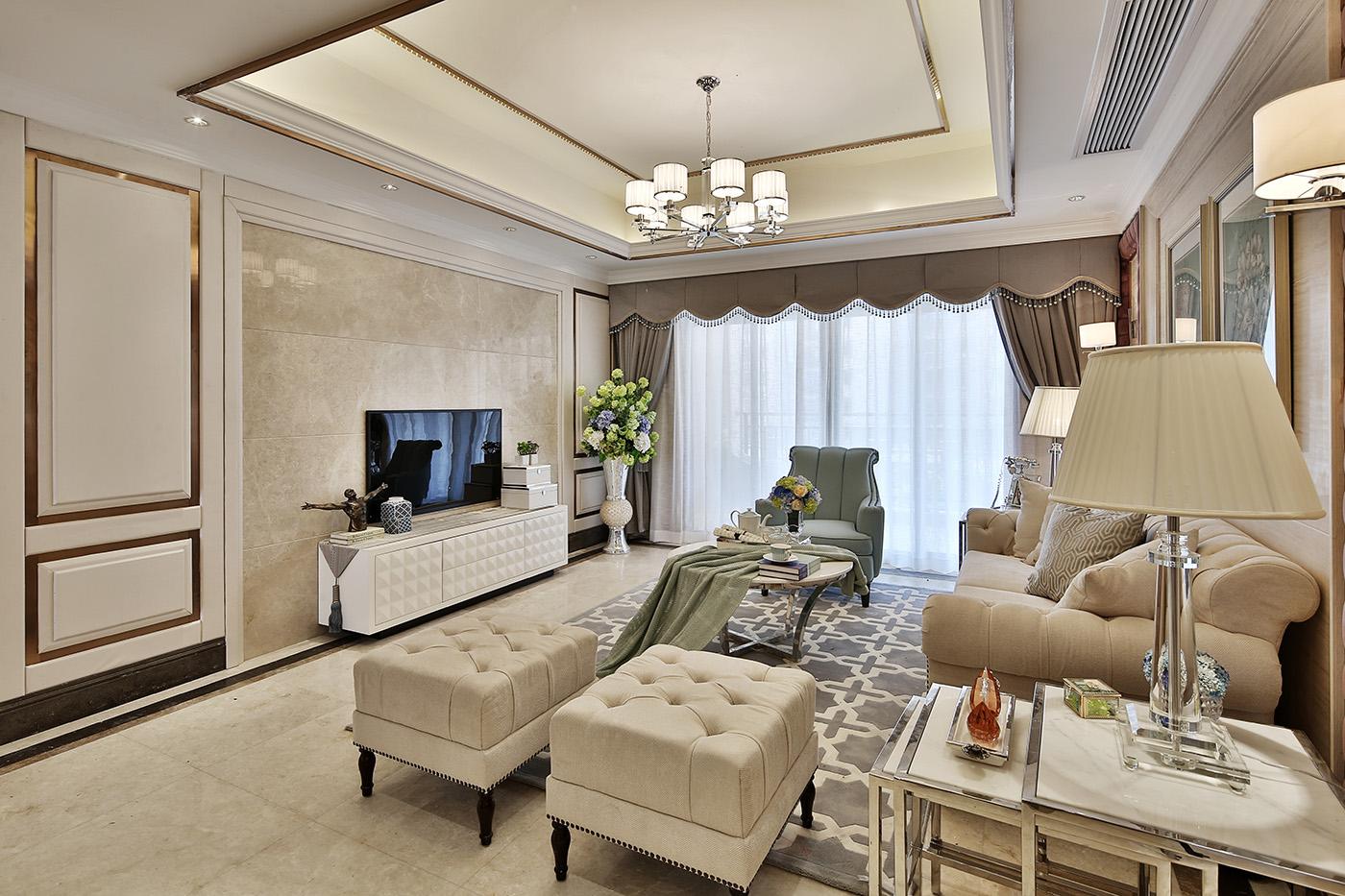 三居室简欧风格电视背景墙装修效果图