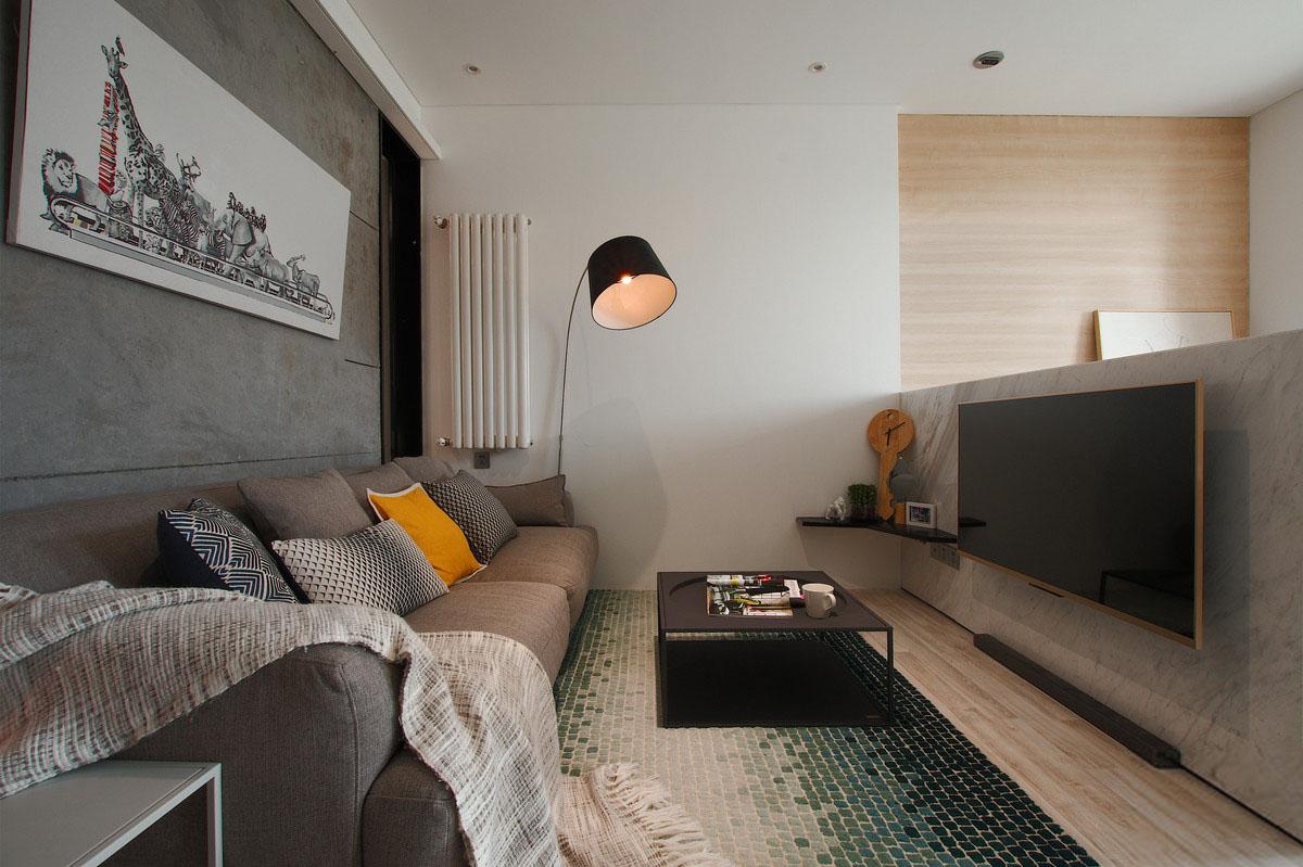 40㎡简约单身公寓客厅装修效果图