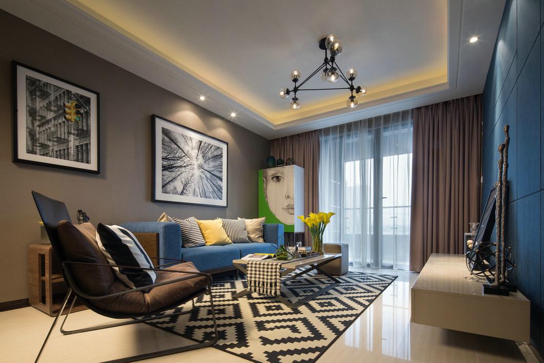 现代简约样板房客厅装修效果图