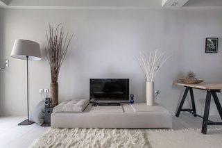 白灰色现代公寓电视背景墙装修效果图