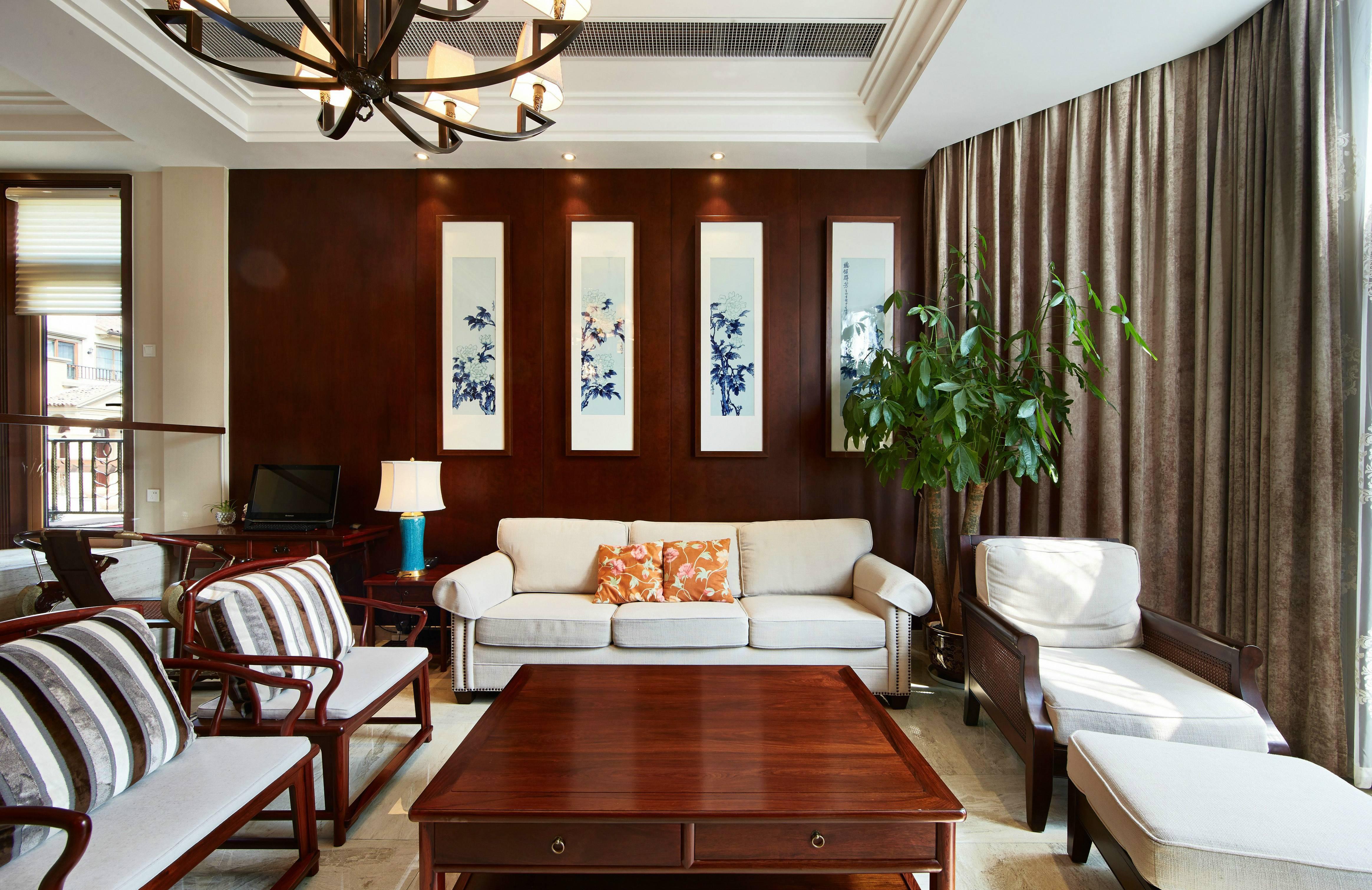 中式风格别墅沙发背景墙装修效果图