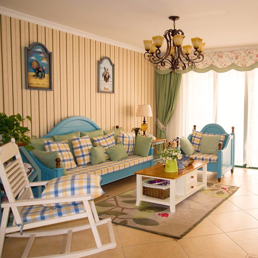 120平米地中海风格沙发背景墙装修效果图