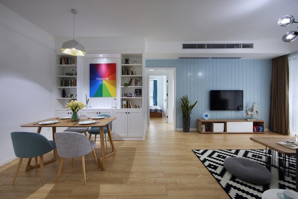 126平米北欧风格电视背景墙装修效果图