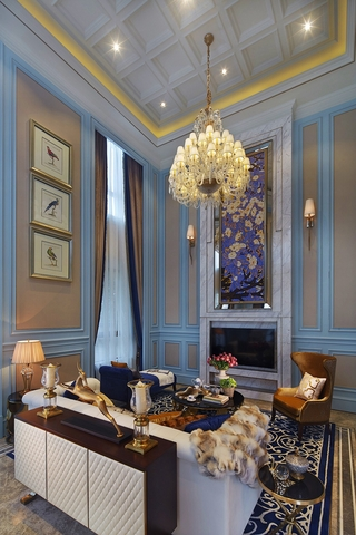 奢华新古典风格别墅客厅装修效果图