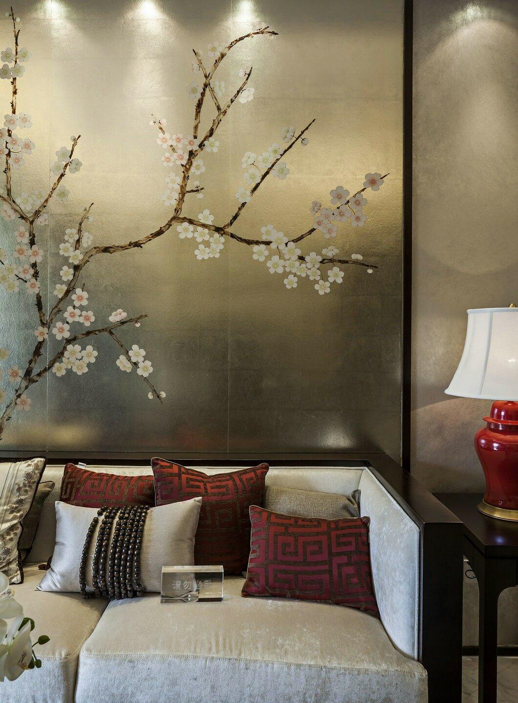 136㎡新中式风格沙发背景墙装修效果图