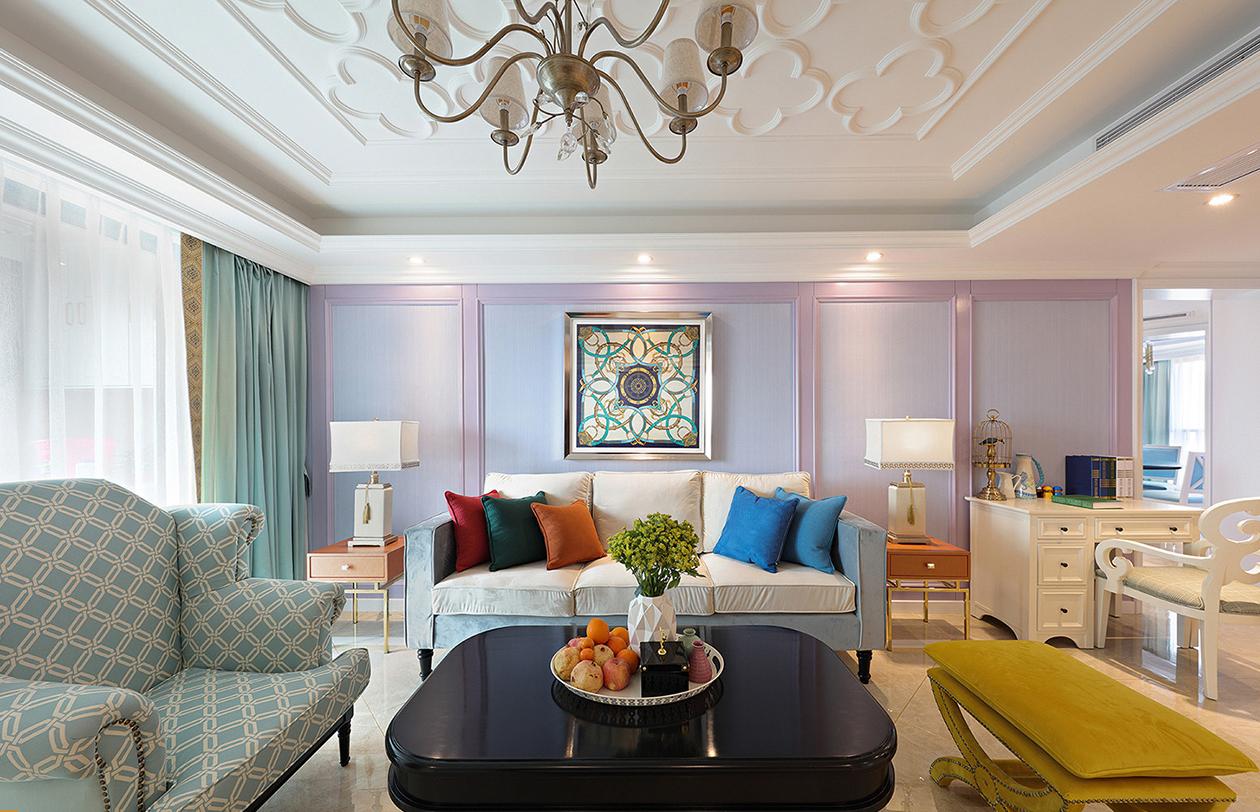 大户型法式风格沙发背景墙装修设计图