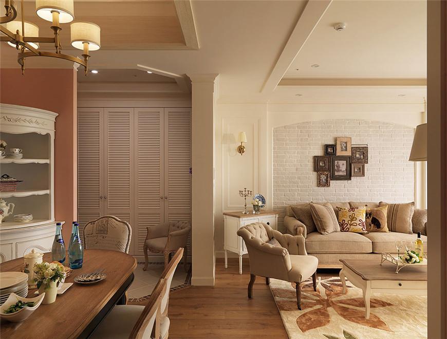 132平米美式风格客餐厅装修效果图