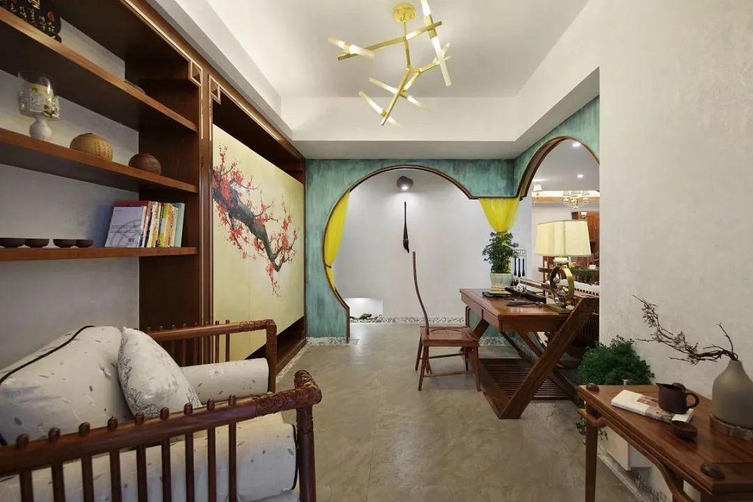 150㎡新中式风格书房装修效果图