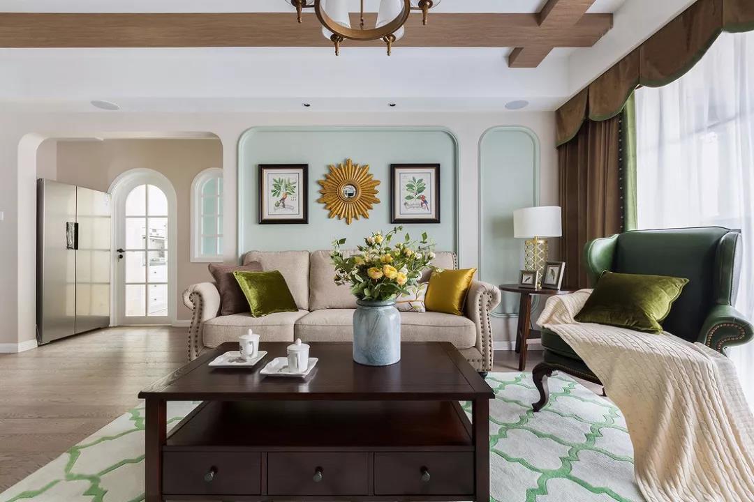 140㎡美式四居室沙发背景墙装修效果图