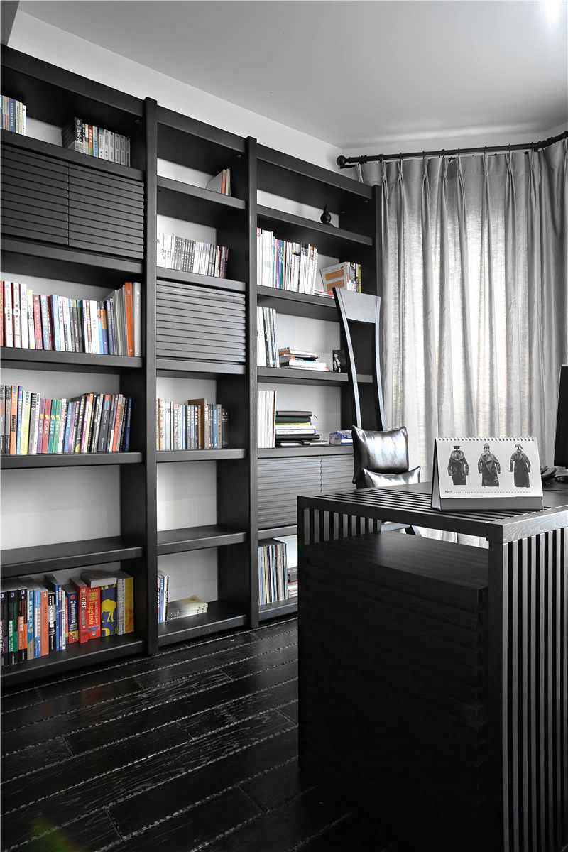 黑白现代简约书房装修效果图