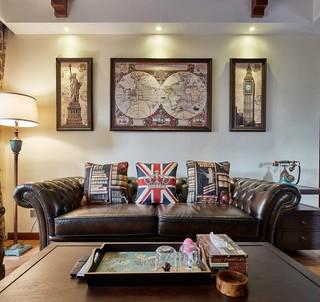 三居室美式乡村风格装修沙发设计图