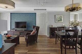 145平简约美式风格客餐厅装修效果图