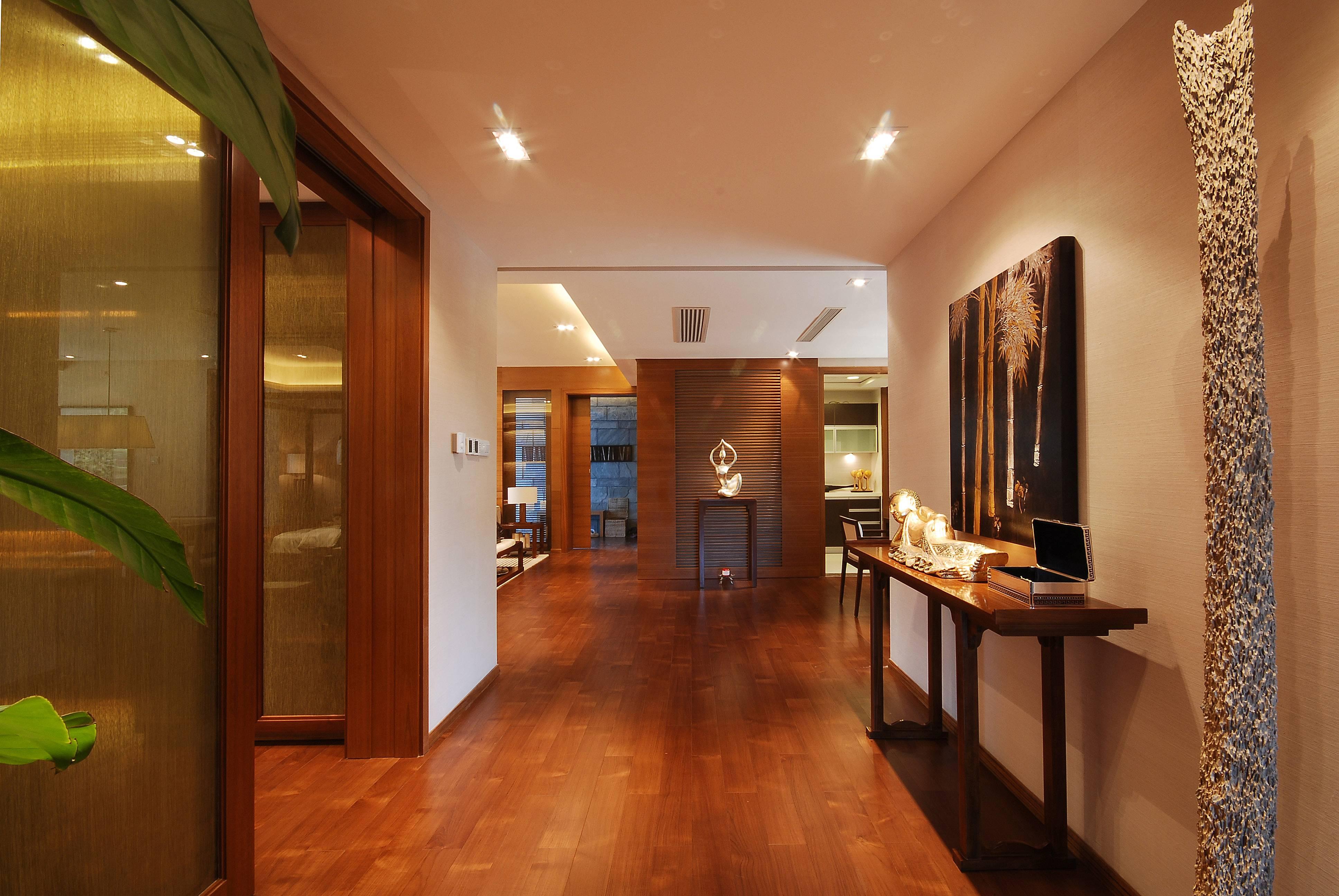 现代中式别墅玄关装修设计效果图