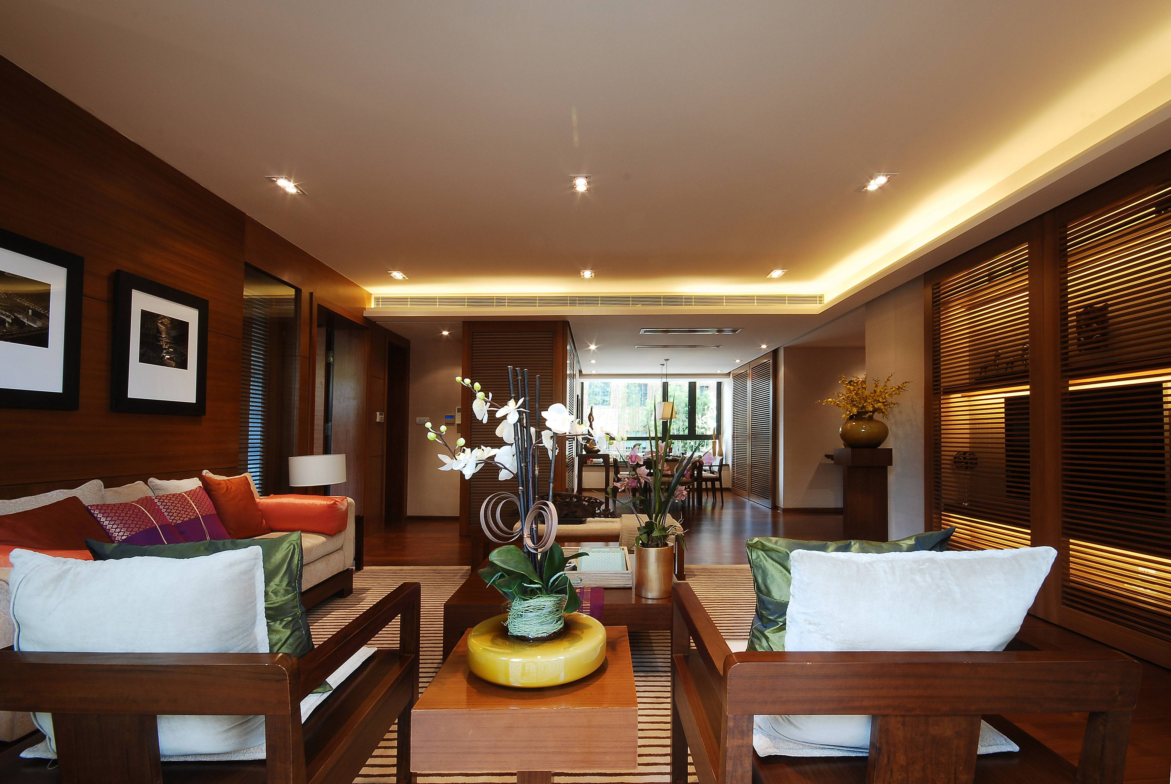 现代中式别墅客厅装修设计效果图