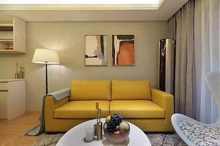 现代简约两居装修黄色沙发设计图